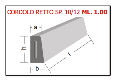 cordolo retto sp. 10/12 ml 1.00