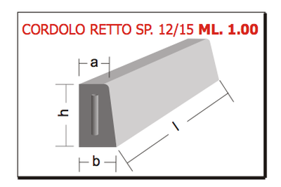 cordolo retto sp. 12/15 ml 1.00